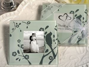 Buy the Lovebird Design Glass Photo Coaster Favors from Wedding Favors Unlimited today! Volume discounts available.