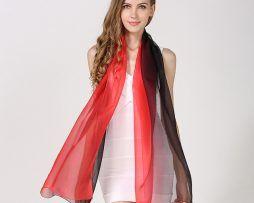 Luxusný hodvábny červeno-čierny šál, rozmer 185 x 68 cm ,