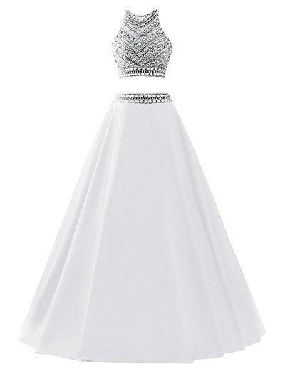 2016 Custom Popular Two Pieces Prom Dress,Sexy Halter Evening Dress,Beading…