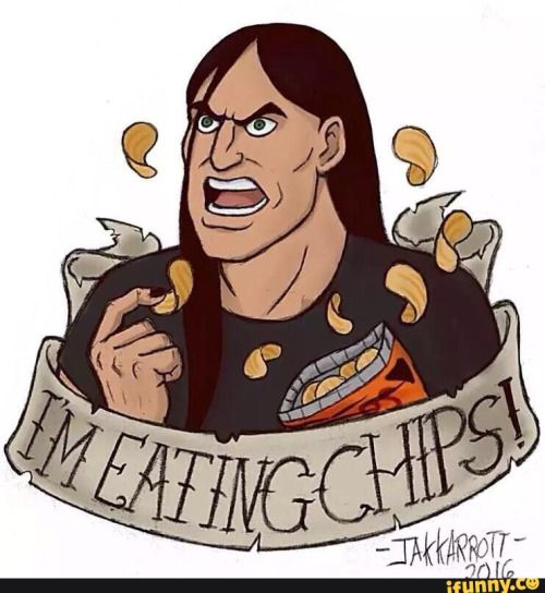 I don't eat chips, but here is a picture of nathan explosion eating chips