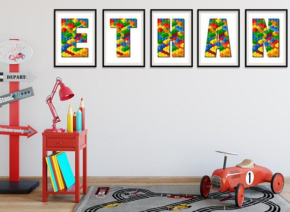 Lego letter art, Lego inspired custom wall art, Lego letters