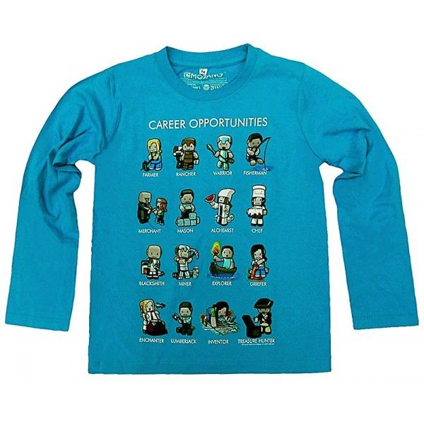 Minecraft langærmet t-shirt med små Minecraft figurer på fronten af trøjen.
