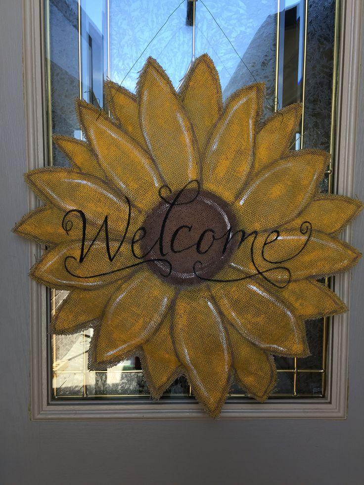 Burlap sunflower door hanger.