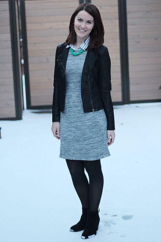 leather jacket, sheath dress, black and white blouse