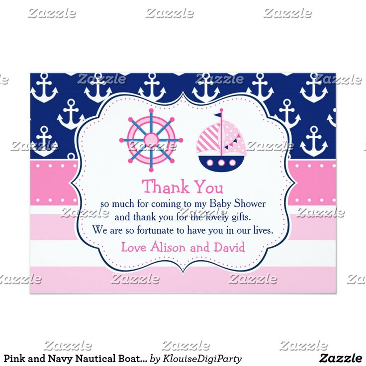 Pink and Navy Nautical Boat Thank You Baby Shower Card