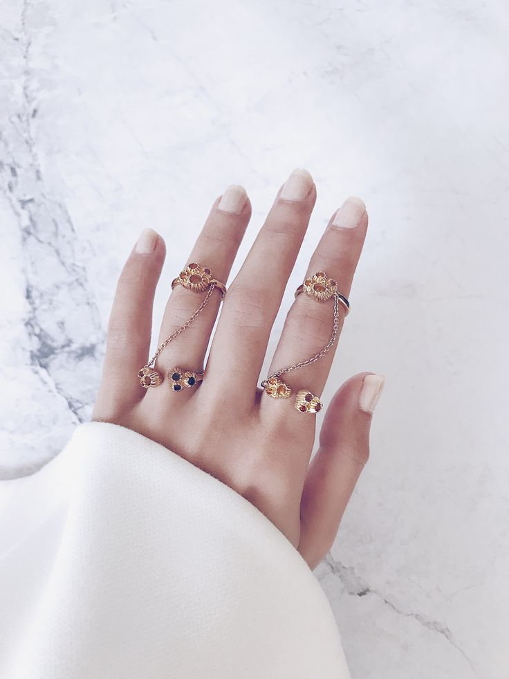 Double trouble - Gold joined double rings stacked in an eye-catching arrangement - Modern and beautiful - Love fashion jewellery? CLICK TO SHOP NOW.