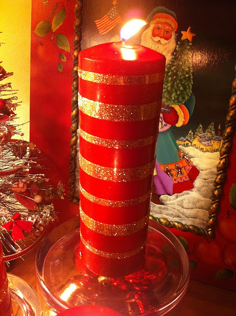 Glitter Candle with Double Sticky Tape by theivycottageblog #Candle #Glitter_Candle #theivycottageblog: Stick Tape, Christmas Crafts, Glitter Candles, Candle Craft, Double Sided, Diy, Sided Tape