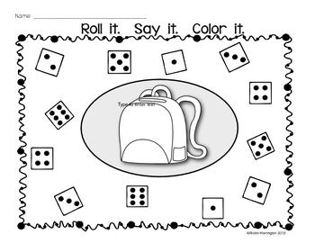 dice game roll it say it color it - Color Games For Kindergarten