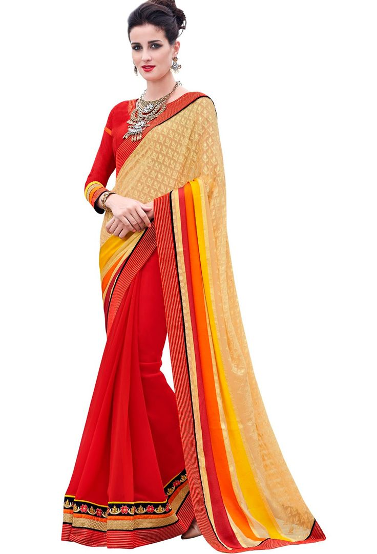 #Yellow,Red #Brasso #Party Wear #Saree #nikvik  #usa #designer #australia #canada #freeshipping #saris