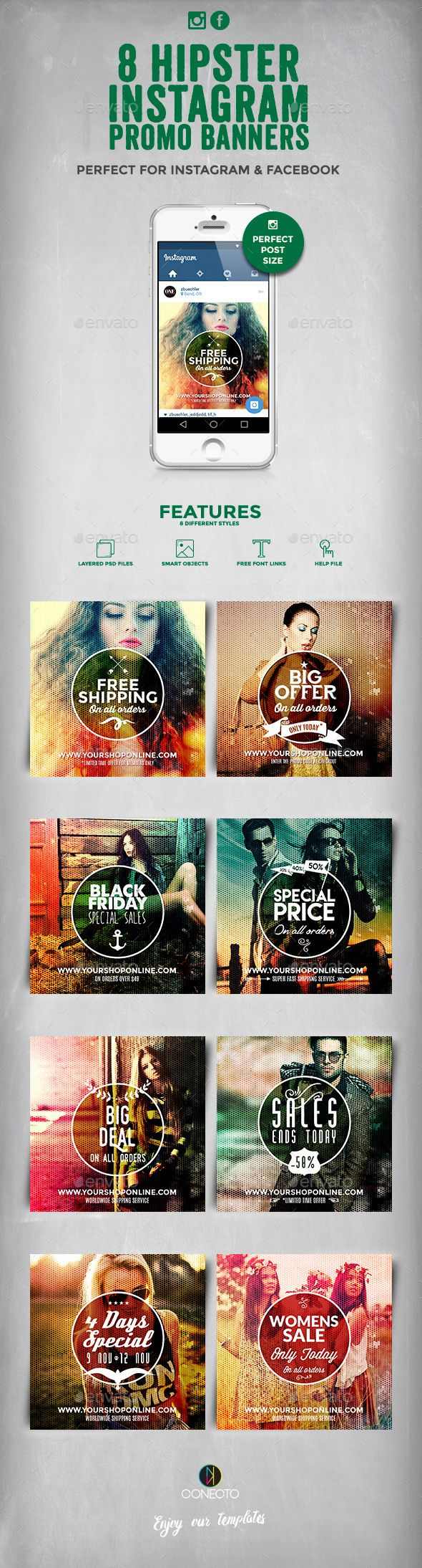 8 Hipster Instagram Promotional Banners — Photoshop PSD #retro #orders • Available here → https://graphicriver.net/item/8-hipster-instagram-promotional-banners/14350065?ref=pxcr