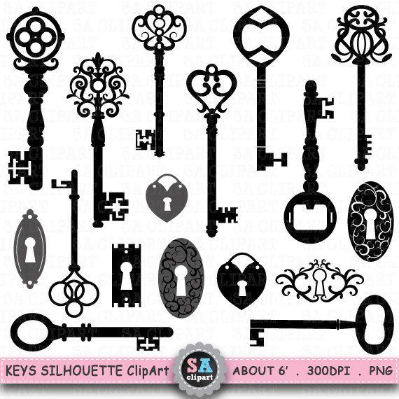 "Keys Silhouette ClipArt "" KEY  SHIHOUETTE "" clip art, Black Skeleton Keys Clip Art ,Vintage Key,Retro Key, Antique Key,Scrapbooking  Ca018"