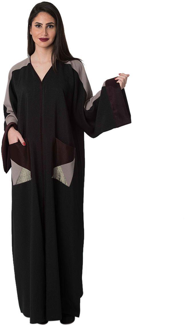 5cb1eac655fc6 عباية كاجوال اسود -نساء