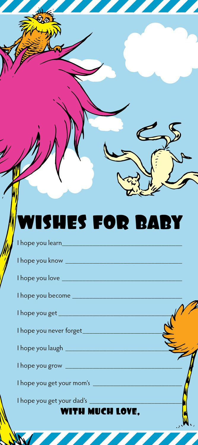 Dr Suess -- The Lorax Baby Wishes - Digital File. $8.00, via Etsy.