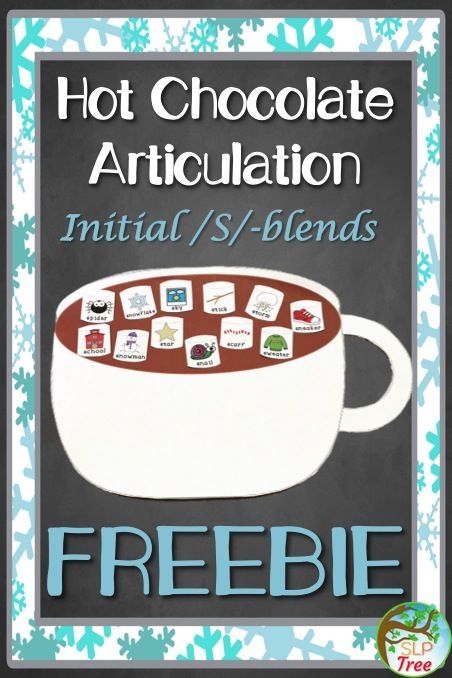 Free Winter Speech Therapy! Hot Chocolate Articulation Craftivity Initial /s/-blend Freebie! Full page hot chocolate mug with 20 initial /s/-blend picture marshmallows