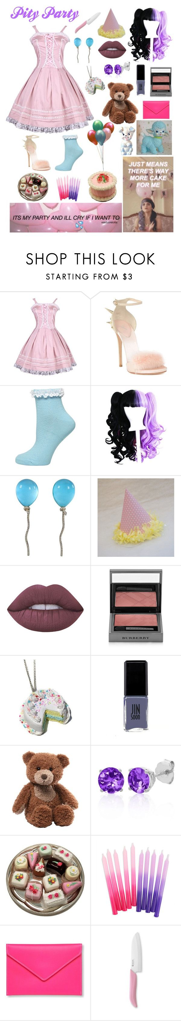 """Pity Party - Melanie Martinez"" by ender1027 ❤ liked on Polyvore featuring Giuseppe Zanotti, Dorothy Perkins, Vhernier, Lime Crime, Burberry, JINsoon, Gund, Belk & Co., Under Cover and Kyocera"