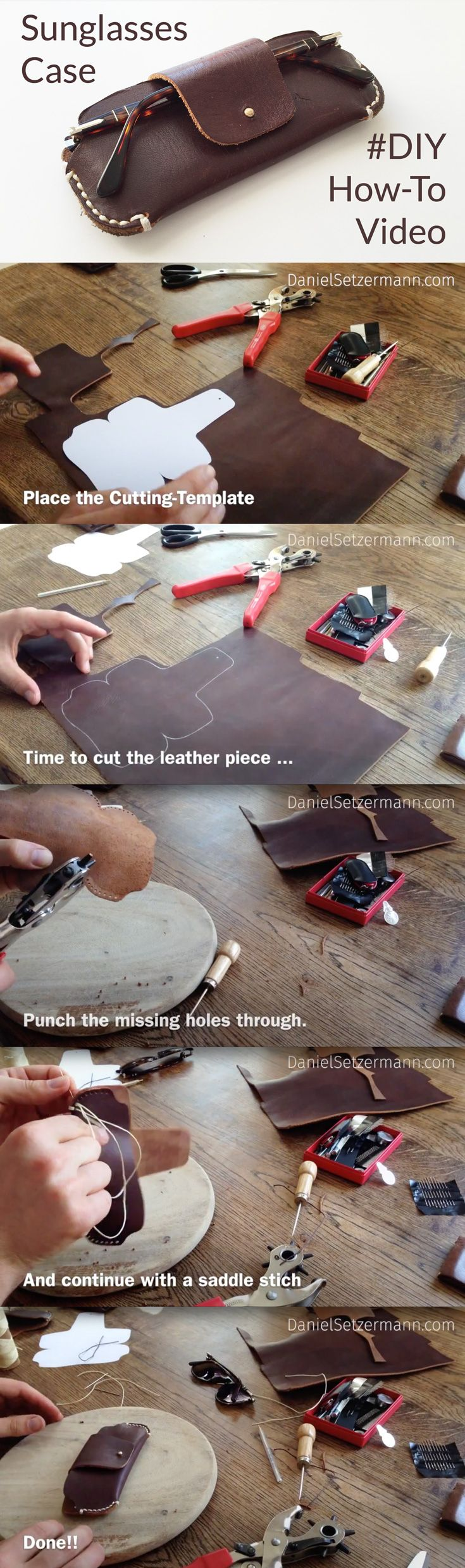 Leather Sunglasses Case – How to make a leather glasses case. Hand Stitched Leather Case. Handcrafted Sleeve. Pattern Download DIY Leather Sunglasses Case.