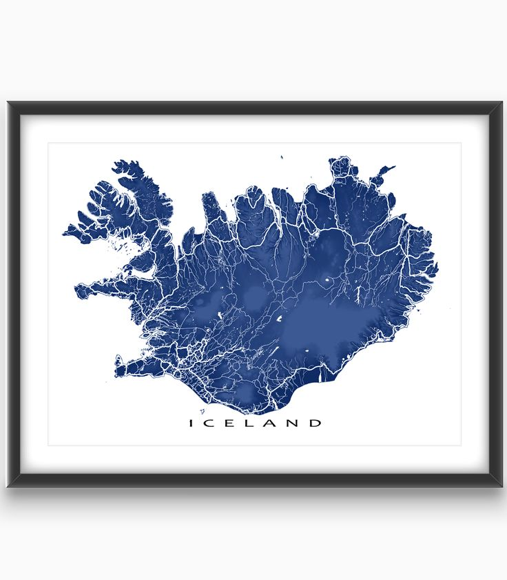 Iceland map art - featuring the beautiful landscape topography and roads of this amazing country! Available in 20 different colours.