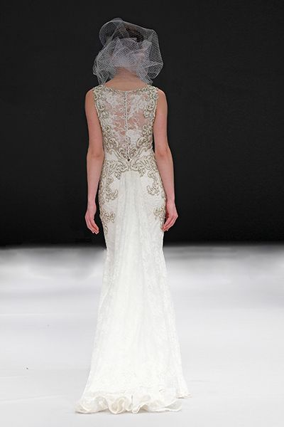 Badgley Mischka Spring 2015 Bridal Collection. wedding dress. floral. romantic. Lace gold back.