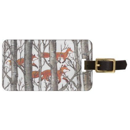 Woodland Fox Forest Luggage Tag Gray Personalize - wood gifts ideas diy cyo natural
