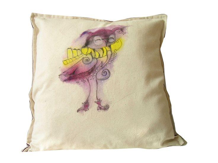 MAła sowa ręcznie malowana 45x45 - Dom-Mal - Dodatki do domu