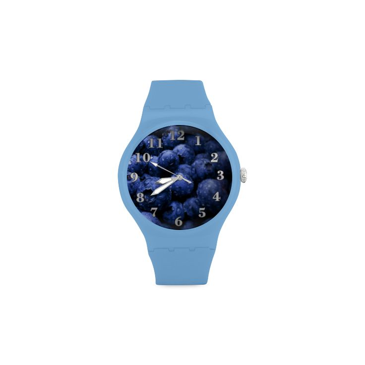 Blueberries Unisex Round Rubber Sport Watch. FREE Shipping. #artsadd #watches #fruits
