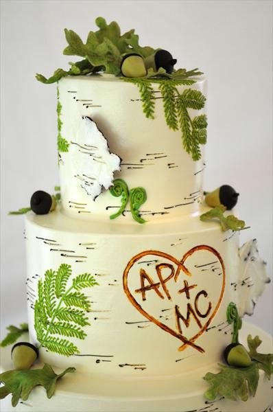 Adorable birch tree inspired wedding cake