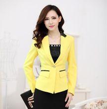 Nuevo amarillo elegante uniforme de gala diseño otoño invierno para mujer de la oficina Blazer Coat Jacket Tops Outwear Blazers Blaser abrigo(China (Mainland))