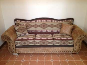 Apache Heather Sofa Is Hand Crafted From Diamond Print Southwest Fabric And  Latte Microfiber. Measures