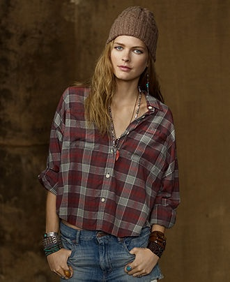 Denim & Supply Ralph Lauren Top, Dolman-Sleeve Plaid Shirt - Womens Tops - Macy's