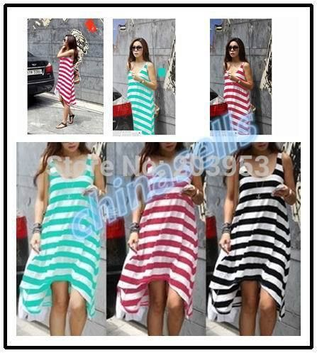 free ship summer woman stripe beach dress holiday dress beach skirt lady dress swim bikini blouse skirt