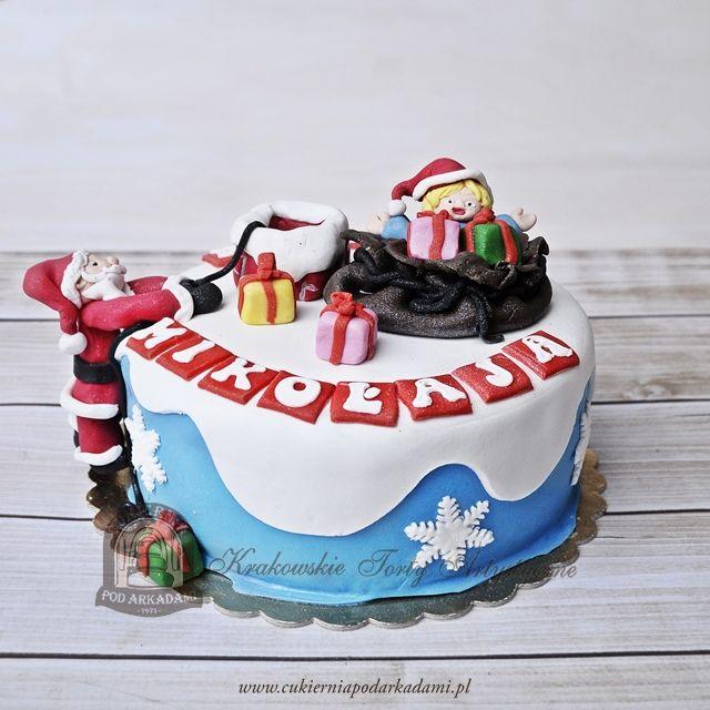 85BA Tort z Mikołajem i prezentami.Christmas cake – Santa delivering christmas gifts.
