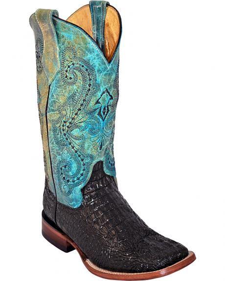 Ferrini Women's Black Caiman Print Cowgirl Boots - Square Toe