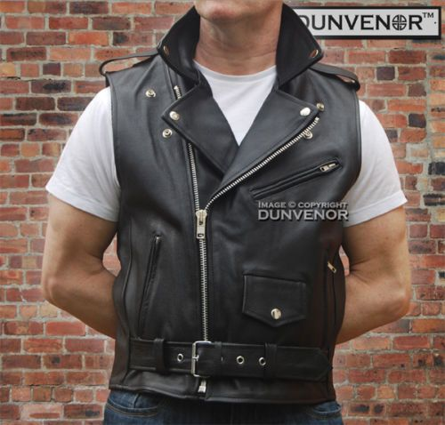 Mens Retro Leather Brando Terminator Style Biker Sleeveless Jacket Waistcoat Ebay With Images