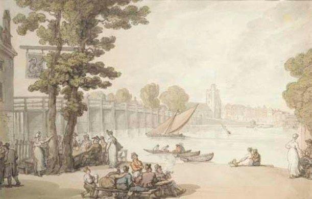 Thomas Rowlandson >> The Garden of the Swan Inn by Putney Bridge