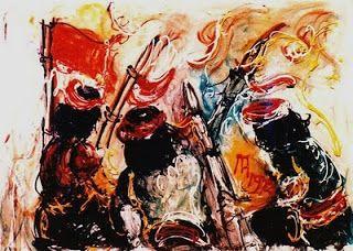 """""""Para Pejuang""""  karya maestro Affandi (1972) Oil on Canvas"""