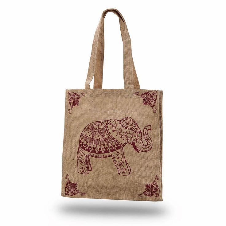 Shopping Bag Jute With Maroon Elephant