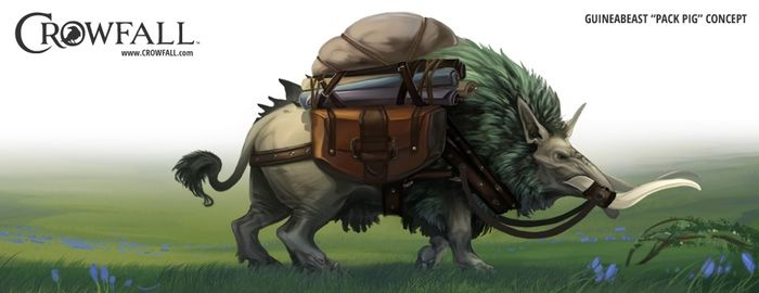 Crowfall game, pack pig art. You can find more on https://crowfall.com/  #Crowfall #gaming #art #MMO #RPG #PvP #MMORPG #multiplayer #online #PC #pig #boar #animal #illustration