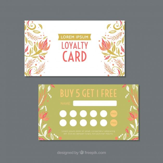 Lovely Loyalty Card Template With Floral Free Vector Freepik Freevector Business Card Flower Busines Loyalty Card Template Card Template Loyalty Card
