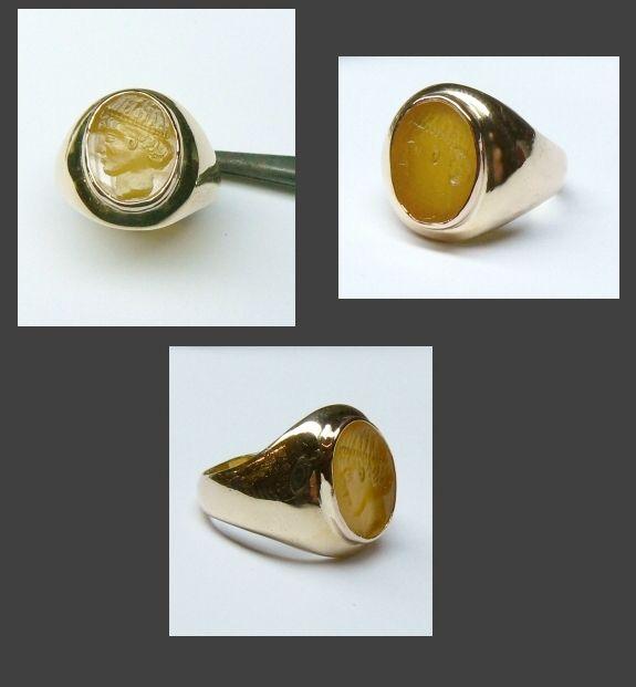 Carnelian Luxury Pinkie Ring in gold 18 kt carnelian intaglio epoca 800 - Dogale Jewellery Venice Italy - www.veneziagioielli.com