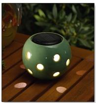 Ceramic Glazed Green Solar Table Top Light