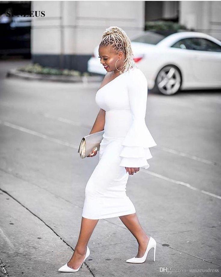 Sheath Single Long Sleeve Tea Length Cocktail Dresses Ivory Prom Party Gowns vestido de coctel elegantes 2017