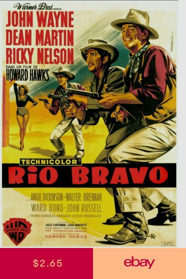 Vintage Rio Bravo John wayne Dean Martin Movie Art Silk Poster 12x18 24x36 24x43
