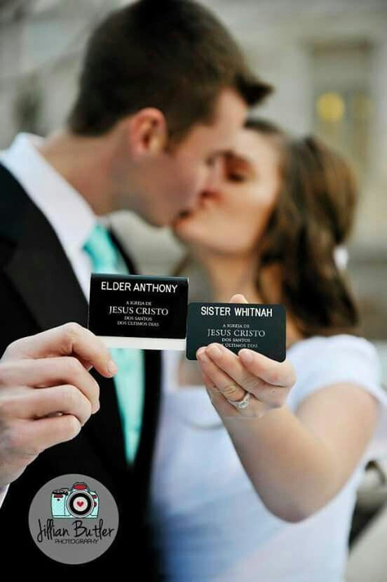 Wedding picture with LDS missionary name tags. Ummm. Yes please!