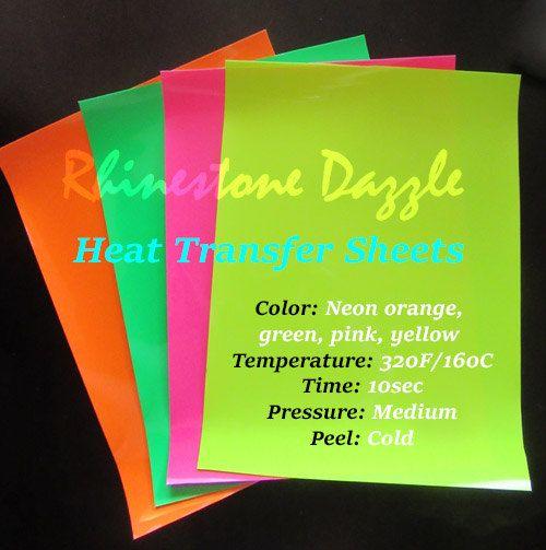 "Neon heat transfer vinyl sheets, 9""x12"" Fluorescent Transfer vinyl, Iron on heat transfer, Neon Pink, Neon Green, Neon Orange, Neon Yellow by RhinestoneDazzle on Etsy"