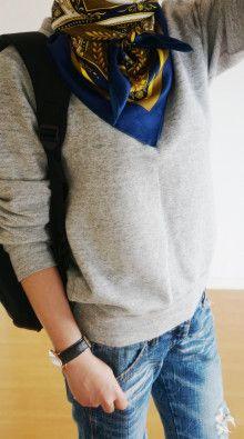 http://ameblo.jp/komatsu1108/entry-12141645447.html スカーフ巻き方 スカーフコーデ scarf arrangement エルメス カレ HERMES carres アラフォーファッション damage denim ダメージデニム