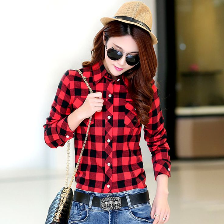 New Spring and Autumn 2017 Ms Leisure Long Sleeve Shirts / Woman's Business Double Pockets Plaid Blouses Shirt / plus size M-4XL