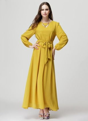 Chiffon Solid Long Sleeve Maxi Casual Dresses