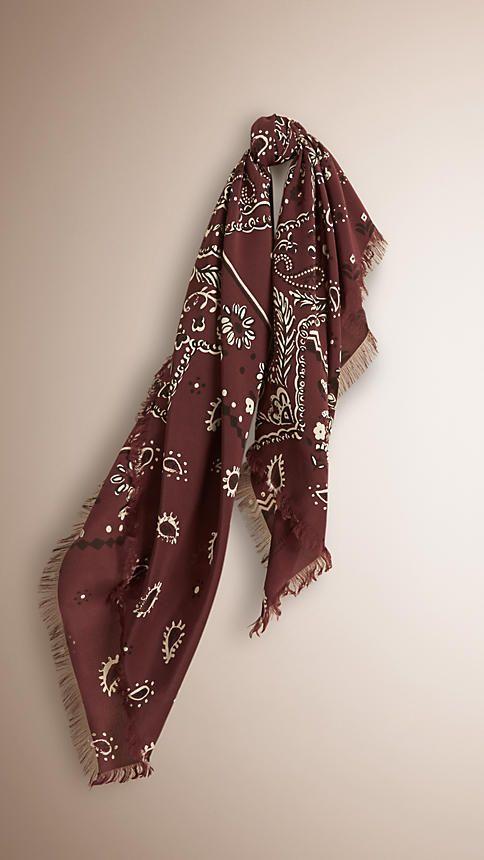 Elderberry Lenço de seda com estampa Paisley – Grande - Imagem 1