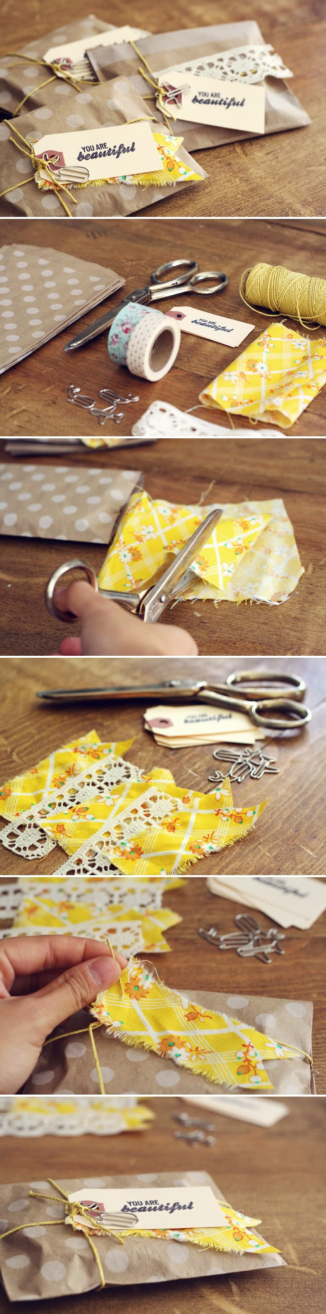 Simple Packaging Idea: use scraps of fabric or lace, twine, paper bags, and some kind of embellishment and there you go--an easy, customizable and cute wrap job