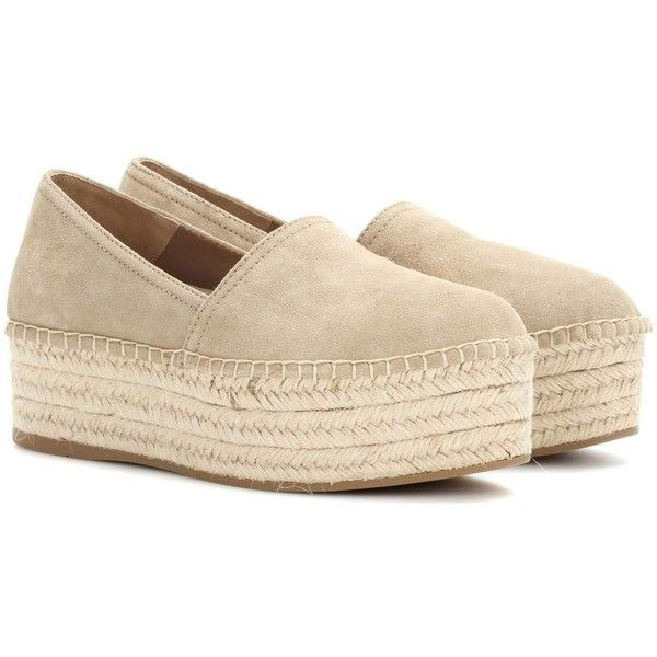 Miu Miu Suede Platform Espadrilles (2.014.190 COP) ❤ liked on Polyvore featuring shoes, sandals, beige, espadrilles, miu miu, beige espadrilles, espadrille sandals, miu miu shoes and platform espadrilles